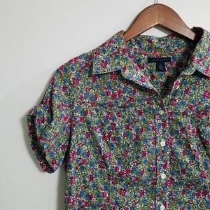 Tommy Hilfiger Floral Button Down Polo Blouse M